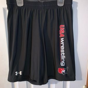 Under armor black USA wrestling small shorts